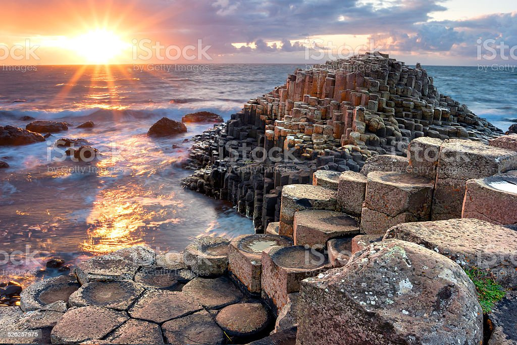Sunset at Giants causeway stock photo