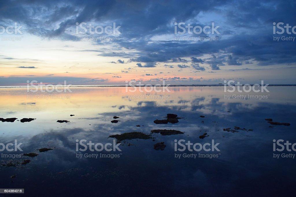 Sunset at Gilli Air Island, Indonesia stock photo