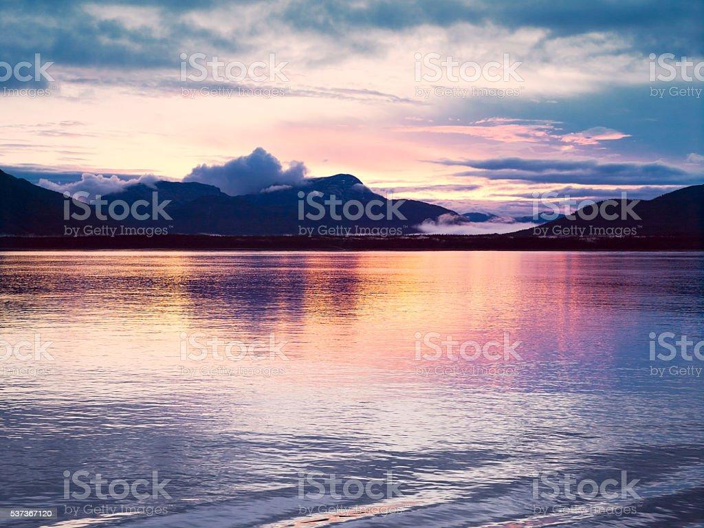 Sunset at Glacier Bay, Alaska stock photo