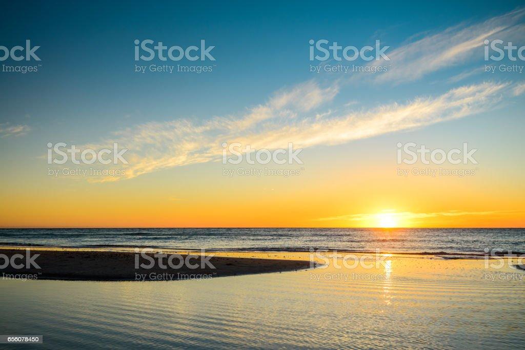 Sunset at Glenelg Beach stock photo