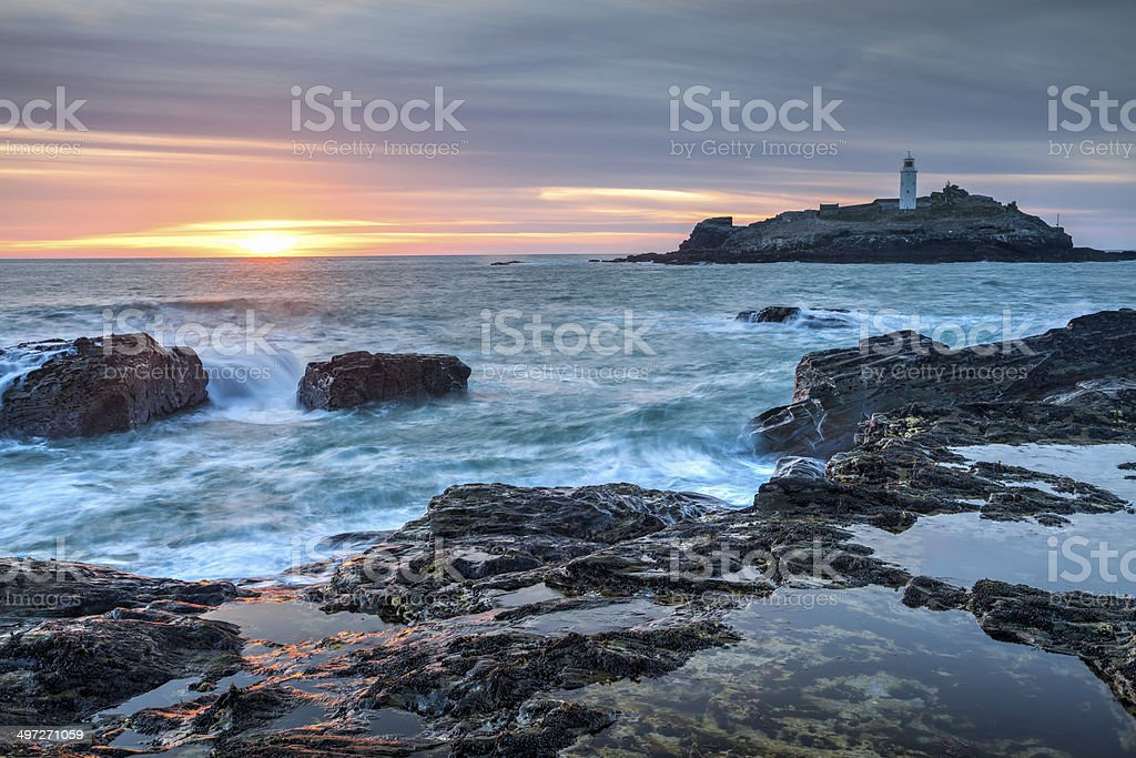 Sunset at Godrevy Cornwall England stock photo