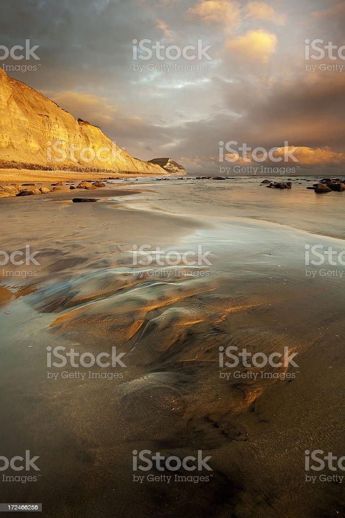 Sunset at Golden Gap on the Dorset Jurassic Coast stock photo