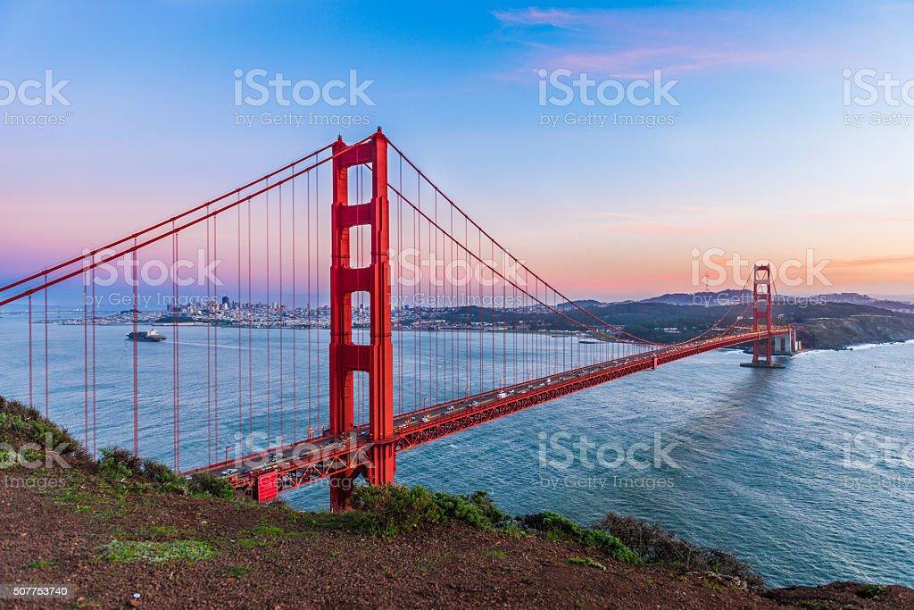 Sunset at Golden Gate Bridge, San Francisco stock photo