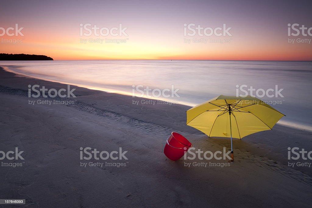 Sunset at Grand Beach in Manitoba royalty-free stock photo