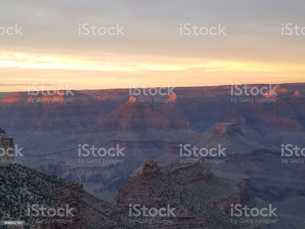 Sunset at Grand Canyon National Park stock photo