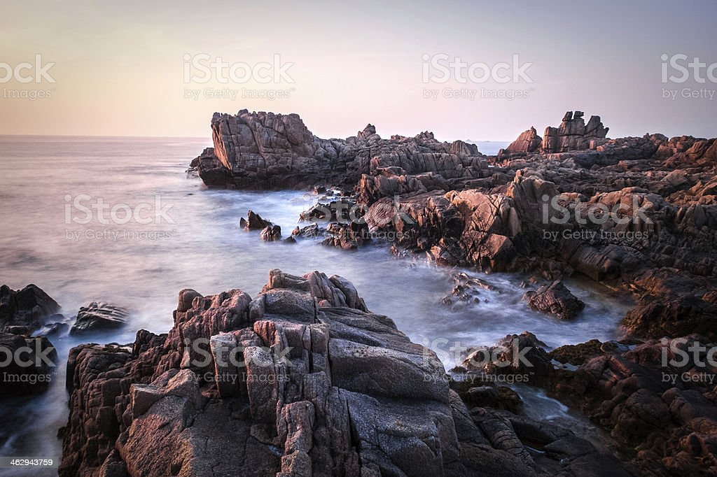 Sunset at Grande Rocques, Guernsey, Channel Islands stock photo