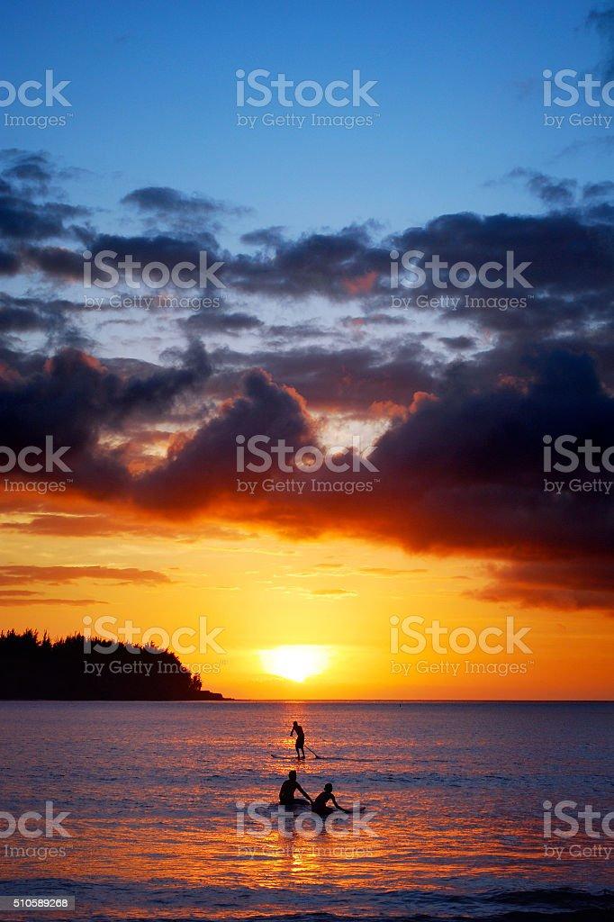 Sunset at Hanalei stock photo