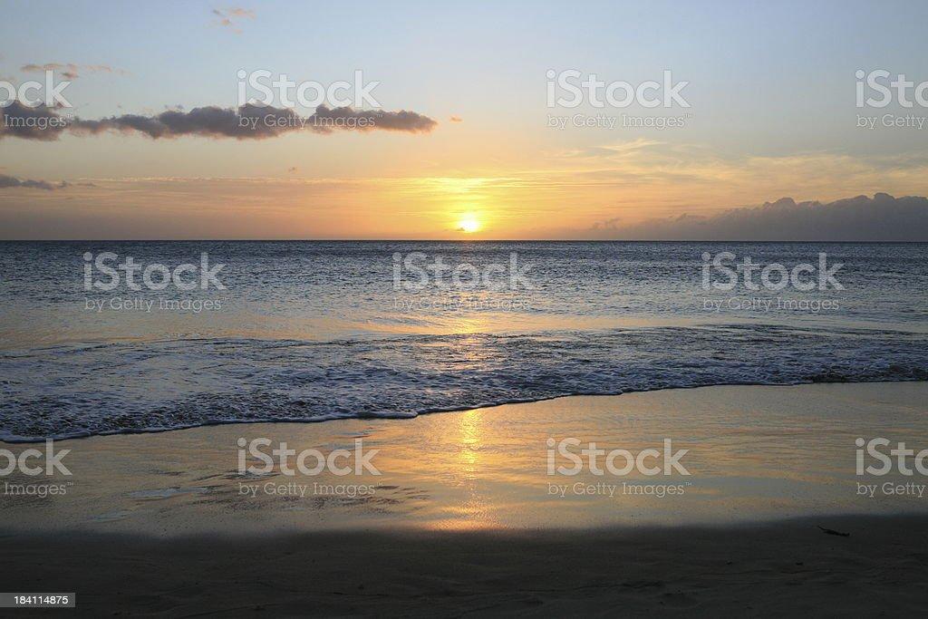 Sunset at Hapuna Beach Big Island royalty-free stock photo