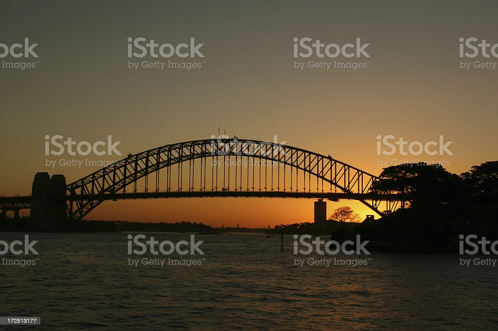sunset at Harbour bridge royalty-free stock photo