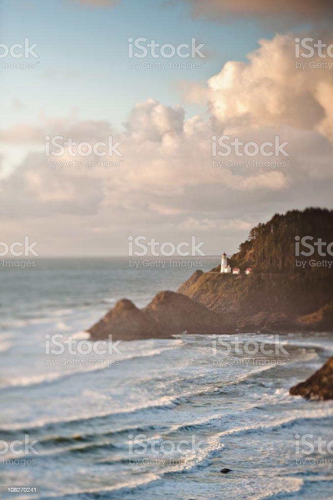 Sunset at Heceta Head with tilt shift stock photo
