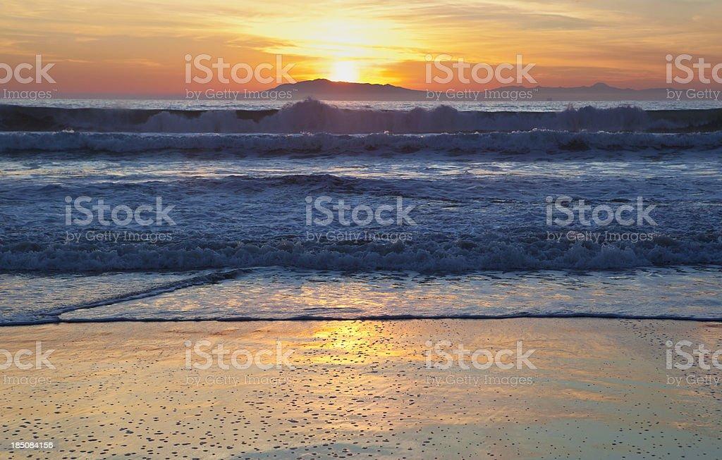 Sunset at Hollywood Beach, Southern California stock photo
