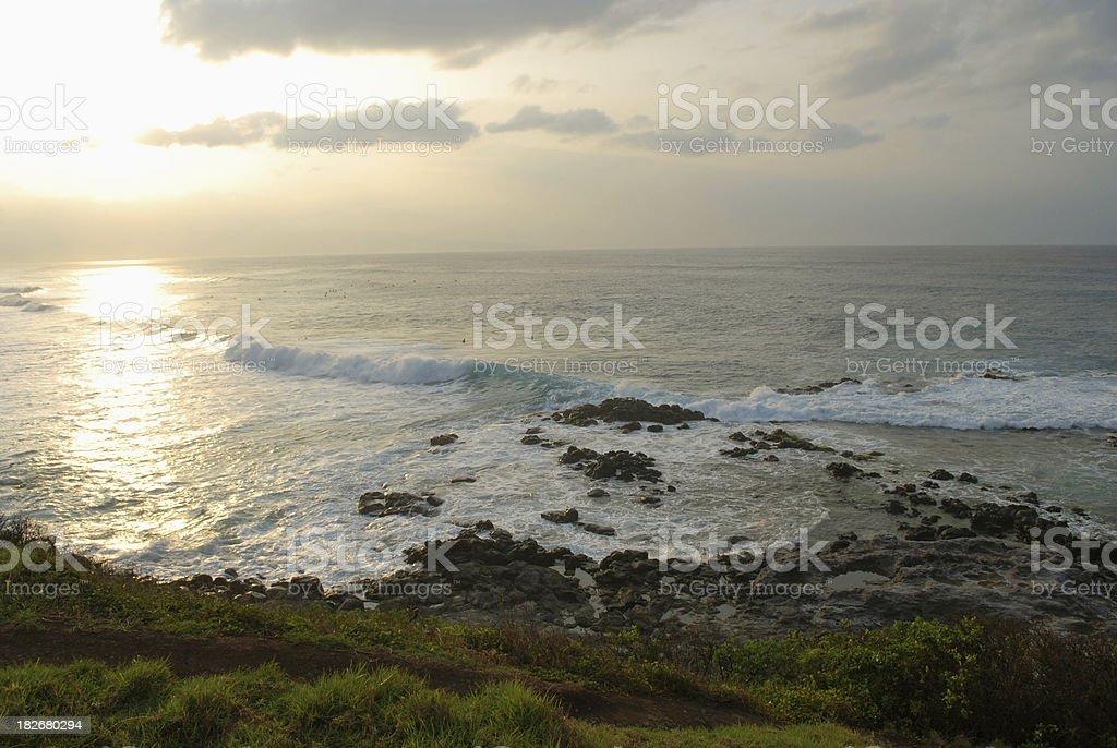 Sunset at Hookipa Beach Park in Maui, Hawaii stock photo