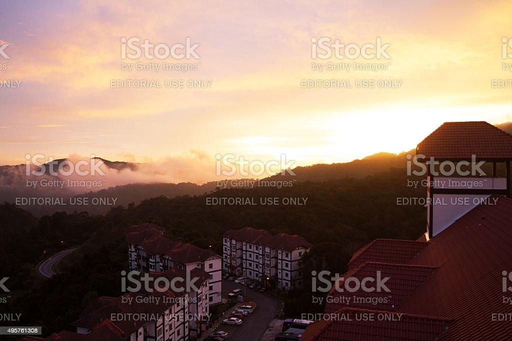 Sunset at horizon in Cameron Highlands stock photo