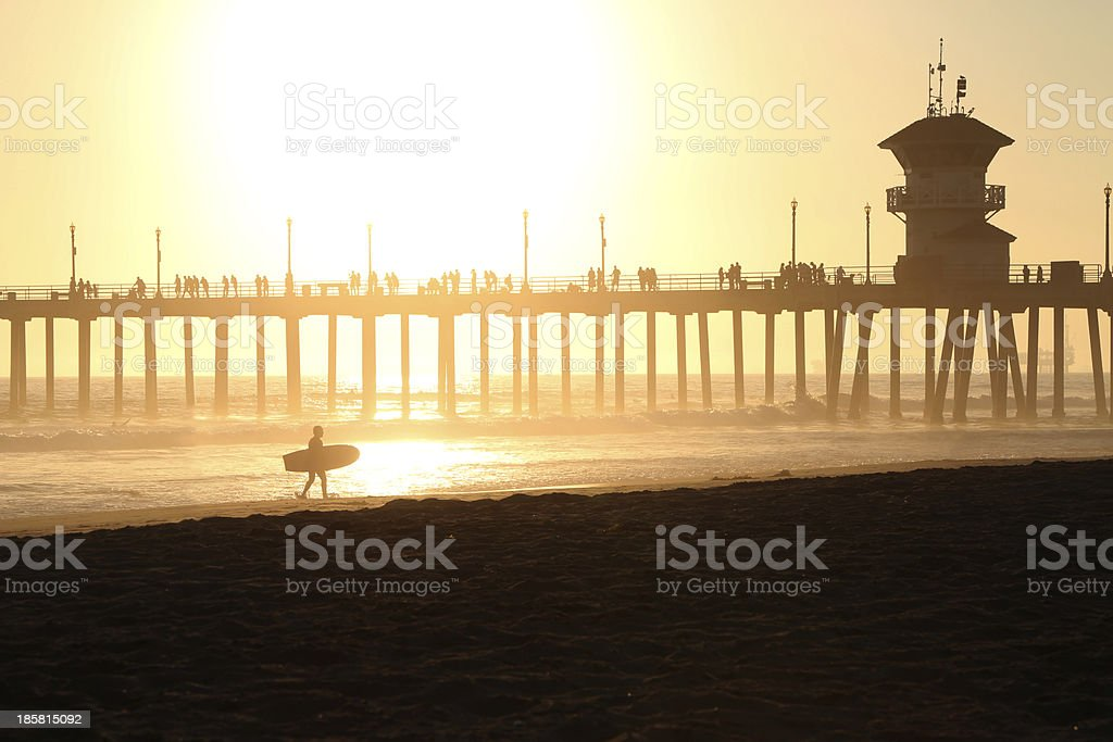 Sunset at Huntington Beach pier in California stock photo