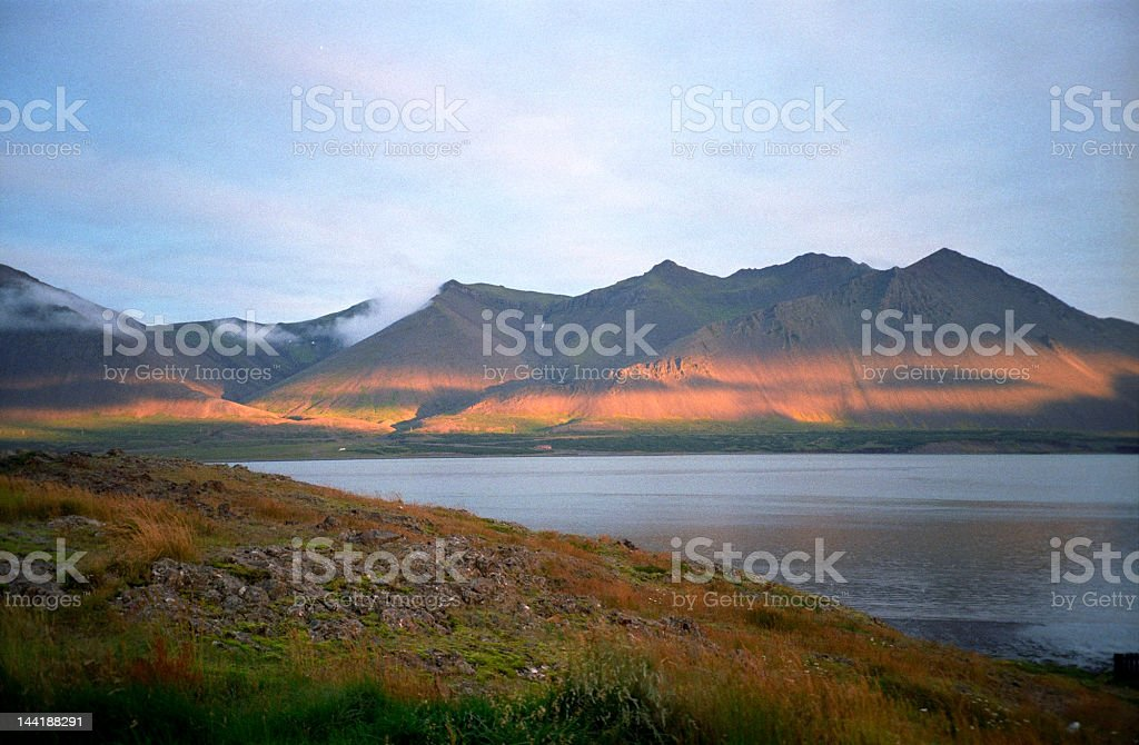 Sunset at icelandic fjord. royalty-free stock photo