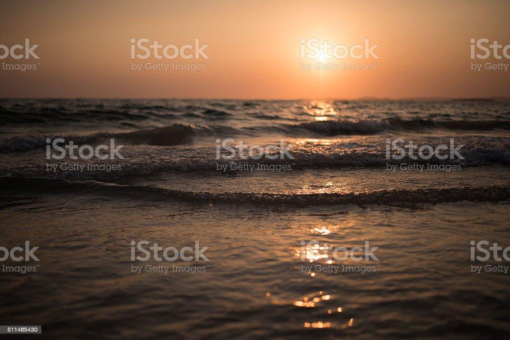Sunset at Independence Beach, Cambodia stock photo