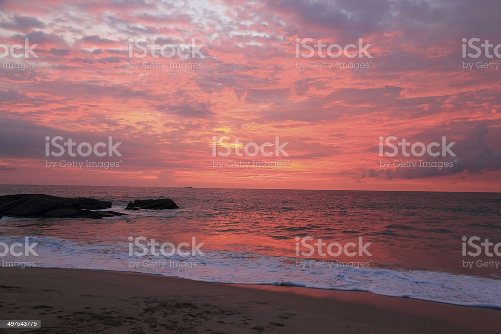 Sunset at Indian ocean stock photo