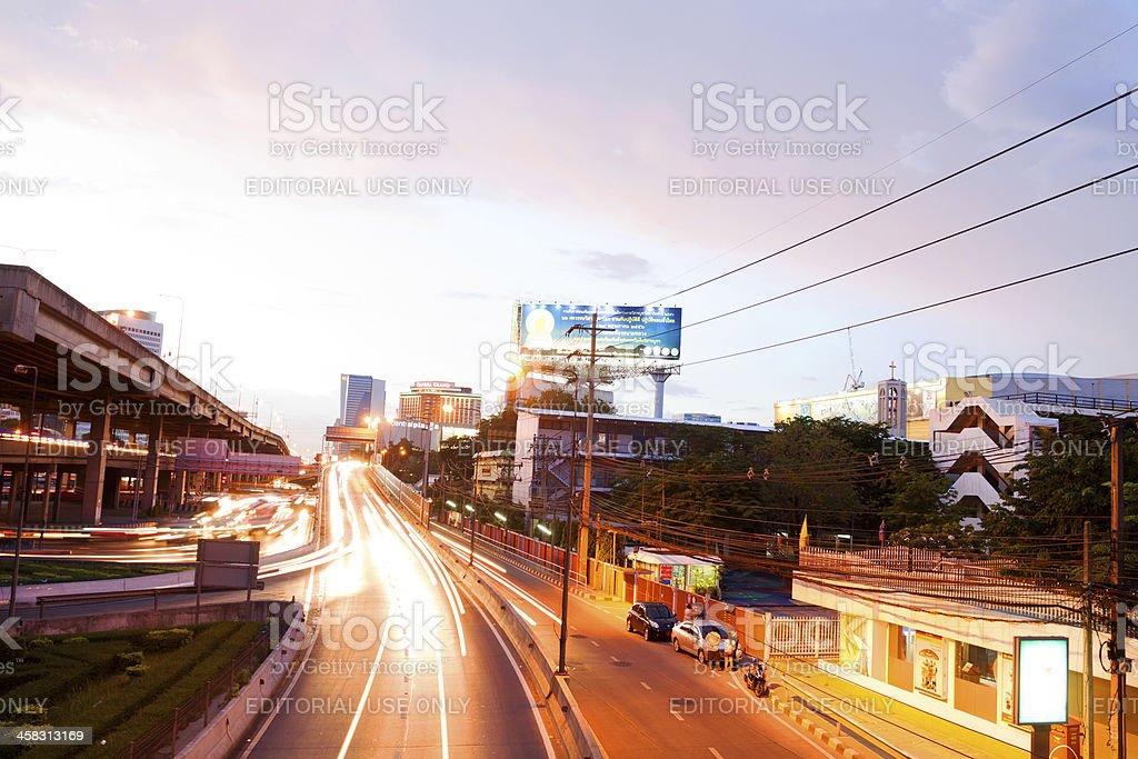 Sunset at interchange Chatuachak stock photo