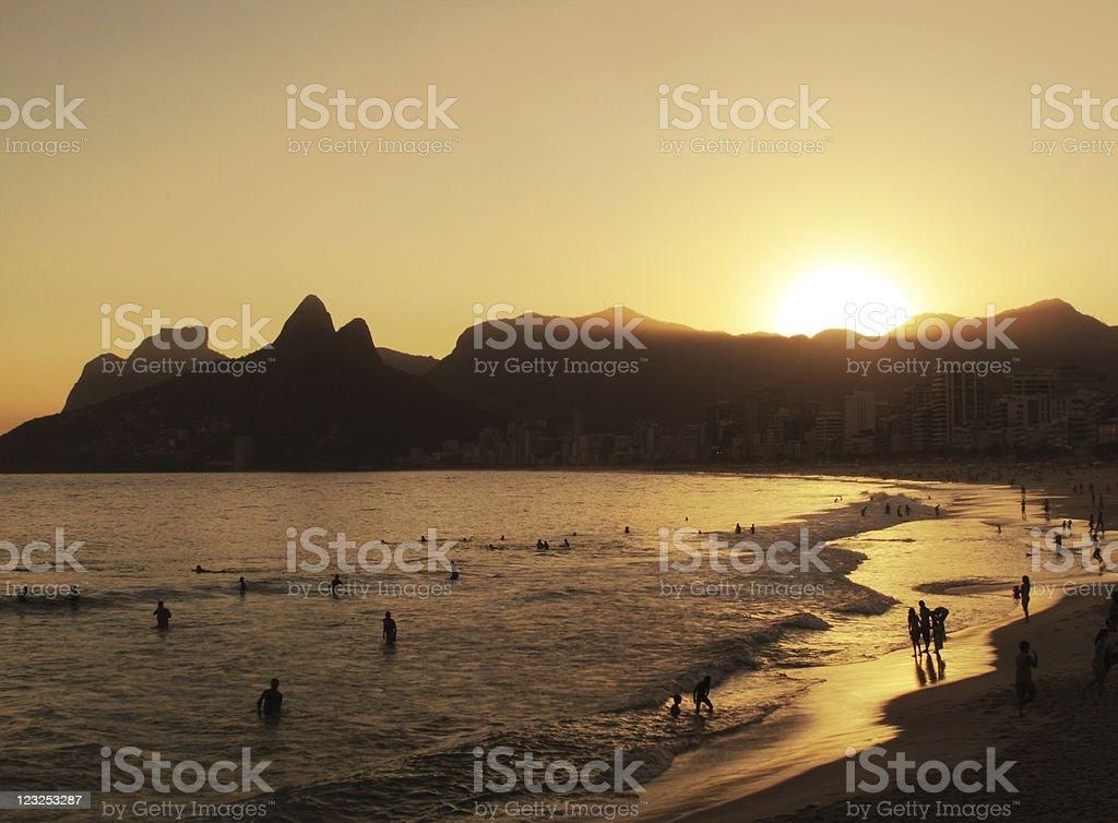 Sunset at Ipanema Beach royalty-free stock photo