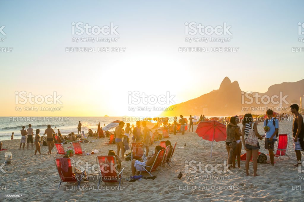 Sunset at Ipanema royalty-free stock photo