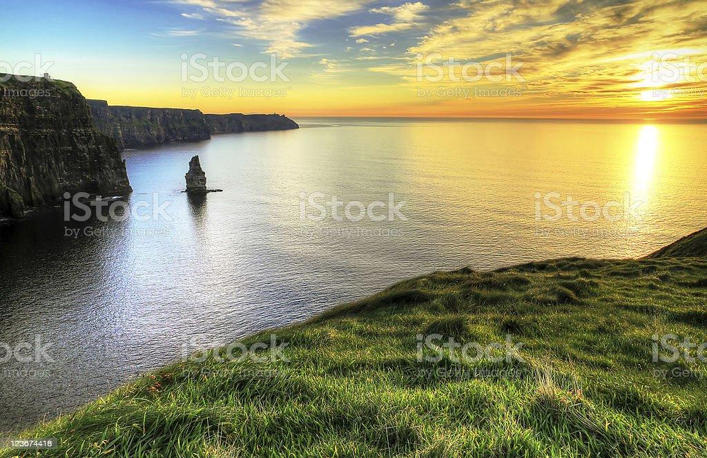 Sunset at irish cliffs - HDR stock photo