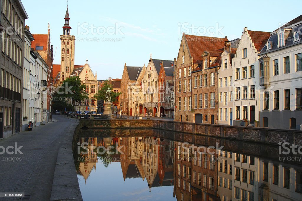Sunset at Jan van Eyckplein in Belgium stock photo