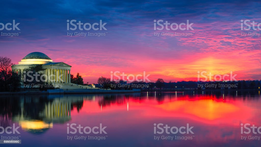 Sunset at Jefferson Memorial stock photo