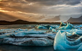 Sunset at Jokulsarlon Iceberg Lagoon in Iceland