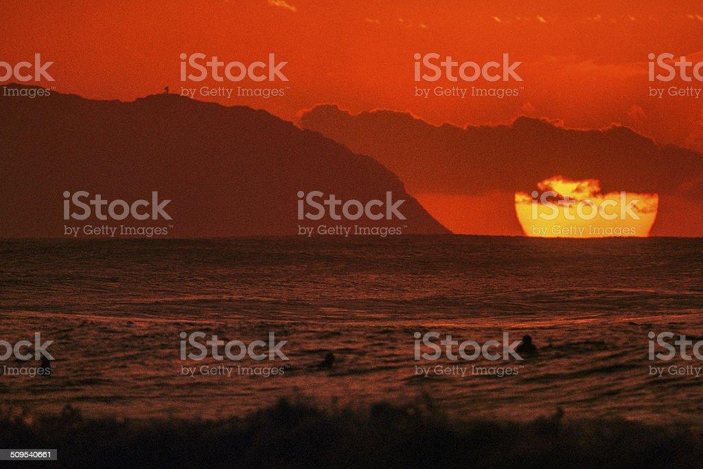 Sunset at Kaena Point stock photo