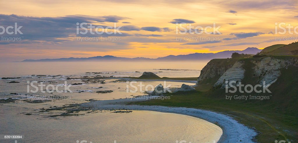 Sunset at Kaikoura peninsula stock photo