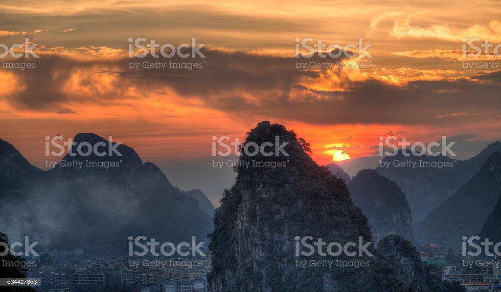 sunset at karst hills,guangxi china stock photo