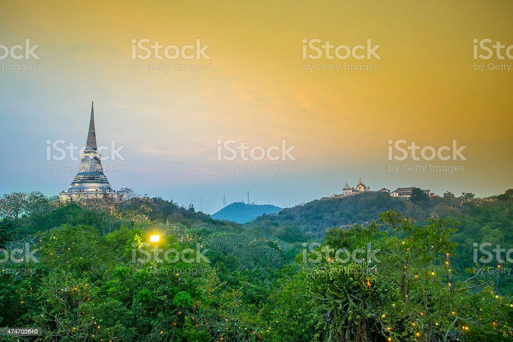 Sunset at Khao Wang ,Thai king palace in Phetchaburi stock photo
