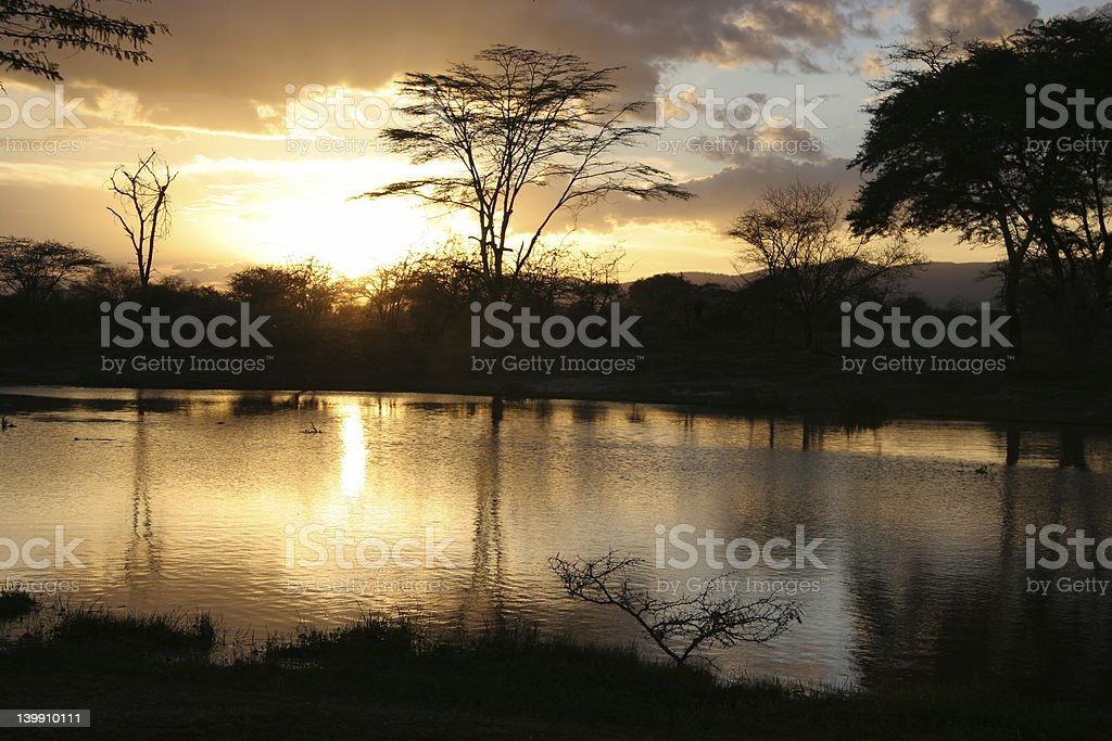 Sunset at Kilimanjaro stock photo