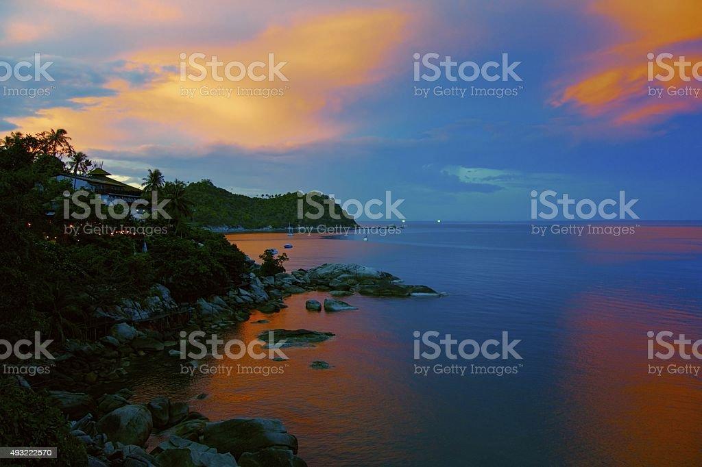 Sunset at Koh Phangan stock photo