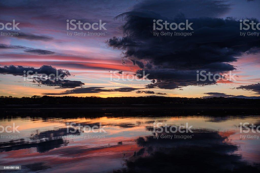 Sunset at Koprinka Dam, Bulgaria stock photo
