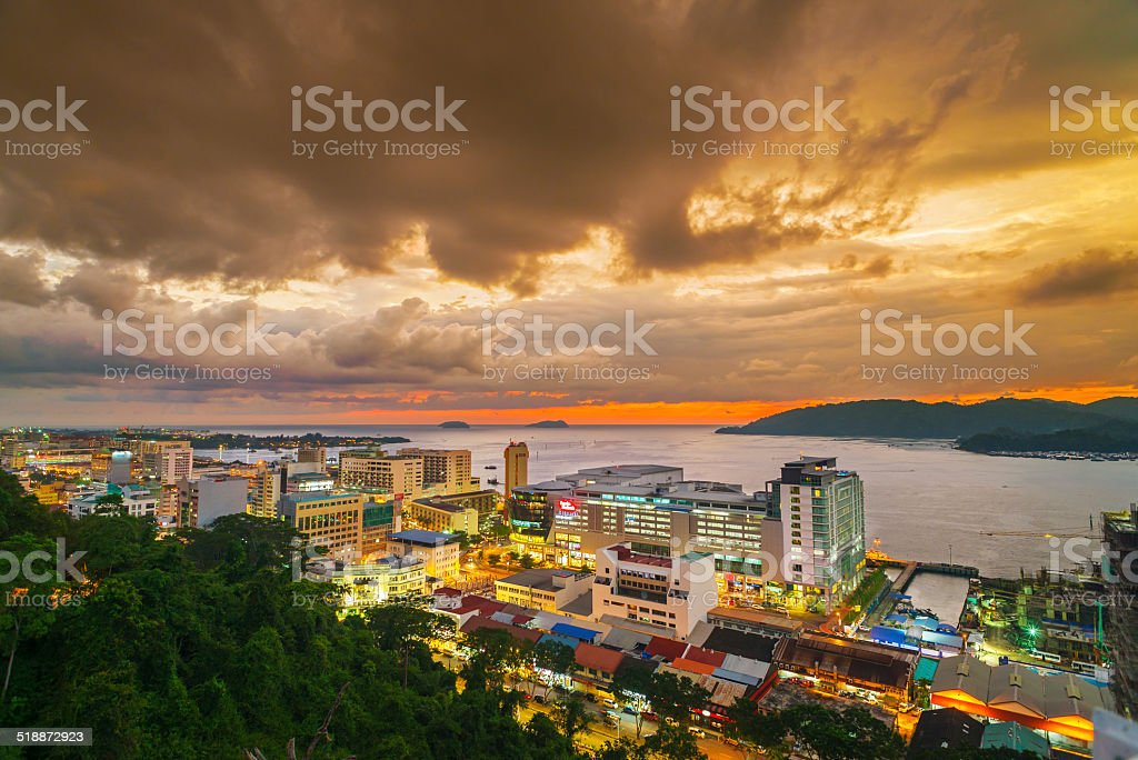 Sunset at Kota Kinabalu City stock photo