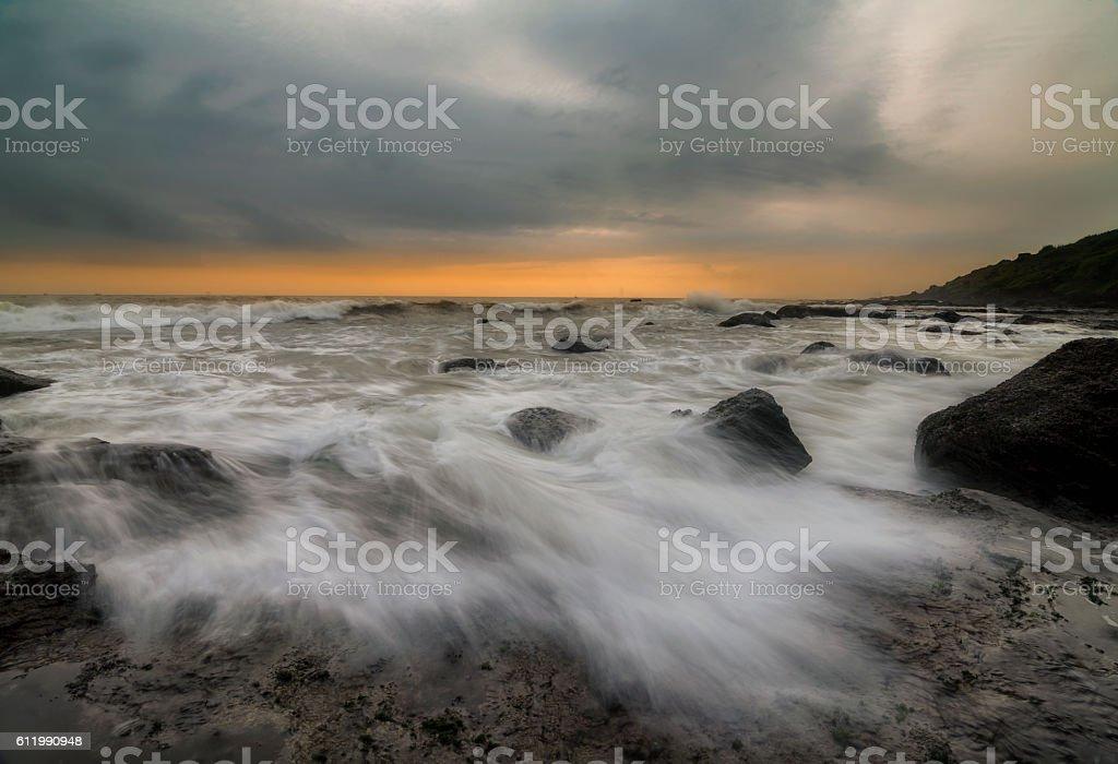 Sunset at Kunkeshwar Beach stock photo
