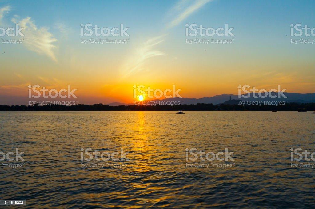 Sunset at Kunming lake, Beijing stock photo