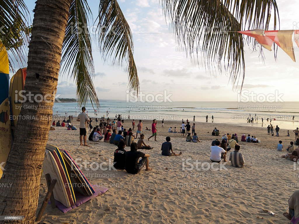 Sunset at Kuta Beach in Bali stock photo