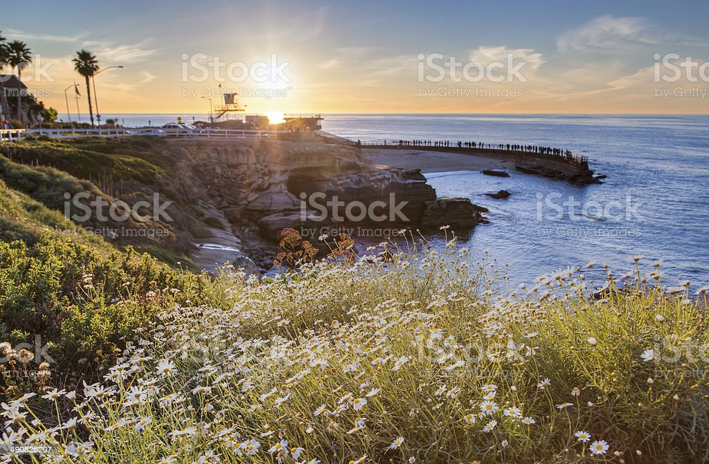Sunset at La Jolla cove beach, San Diego, California stock photo