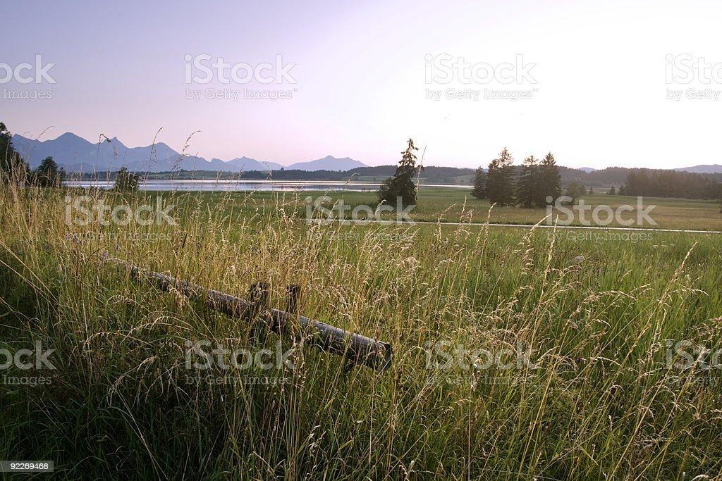 Sunset at Lake Bannwaldsee stock photo