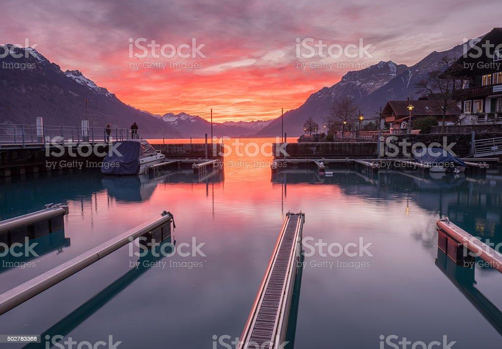 Sunset at Lake Brienz, Switzerland stock photo