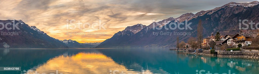 Sunset at Lake Brienz, Switzerland stock photo