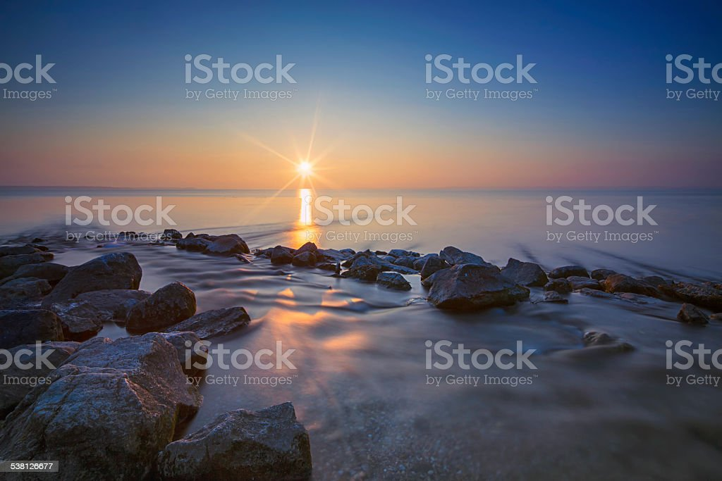 Sunset at lake Chiemsee in Germany stock photo