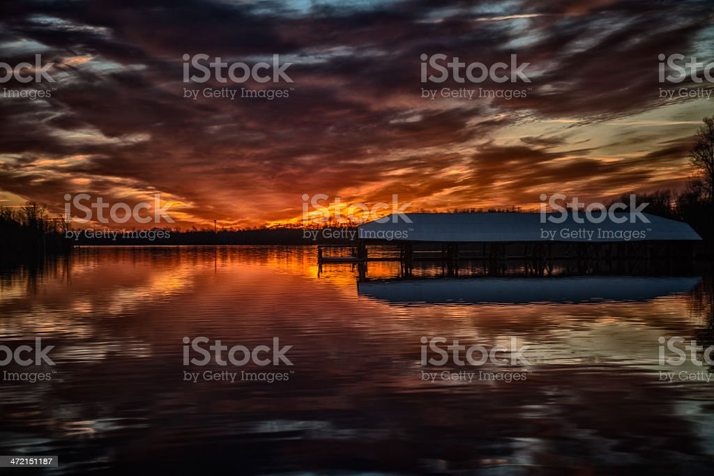 Sunset at Lake Dock royalty-free stock photo