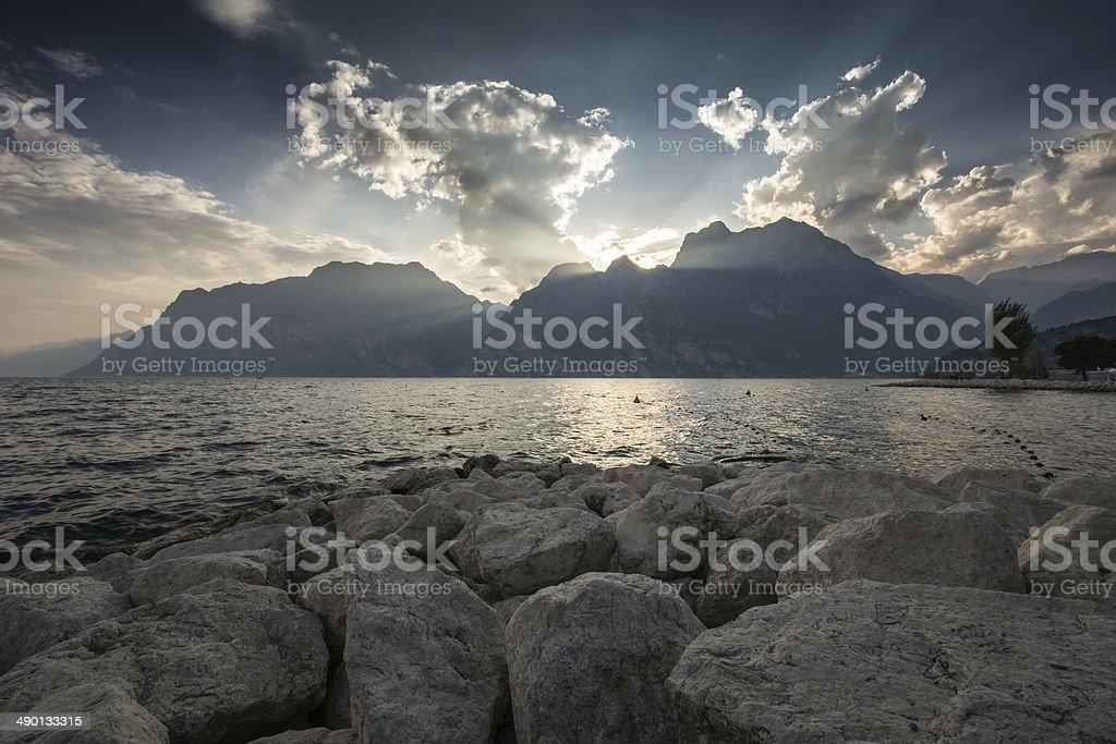 Sunset at Lake Garda stock photo