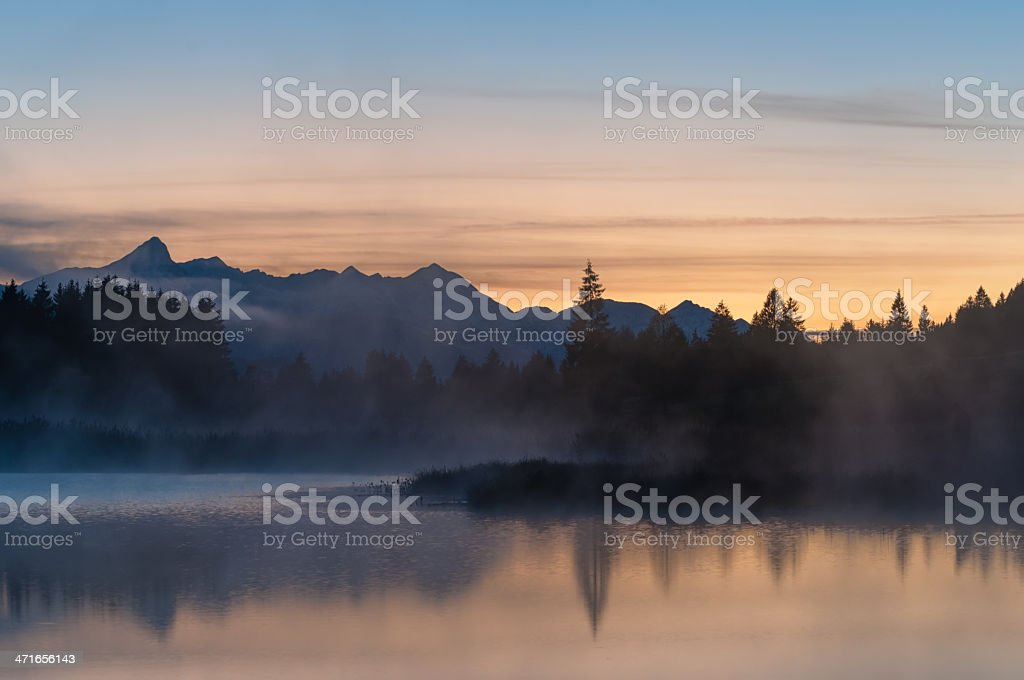 Sunset at Lake Geroldsee royalty-free stock photo