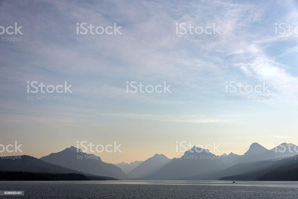 Sunset at Lake McDonald stock photo