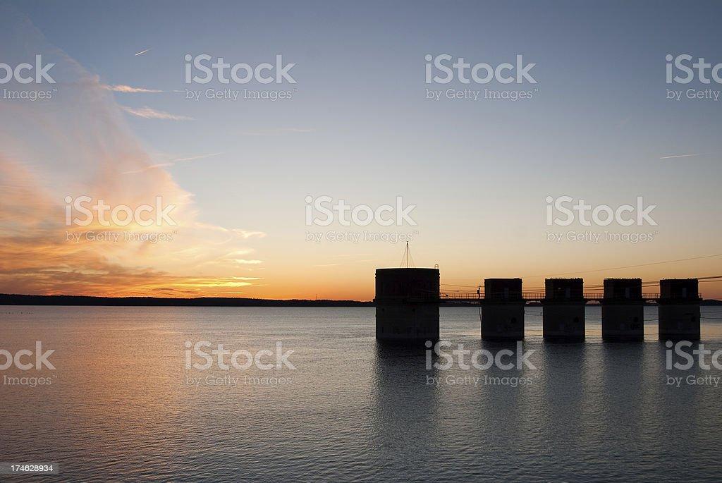 Sunset at Lake Murray stock photo