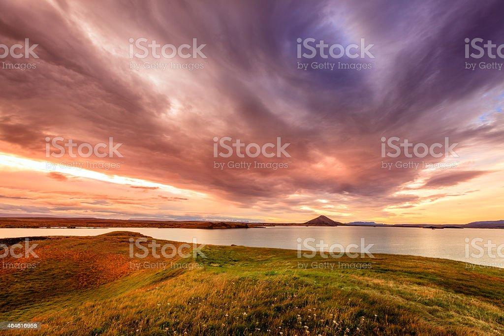 Sunset at Lake Myvatn stock photo